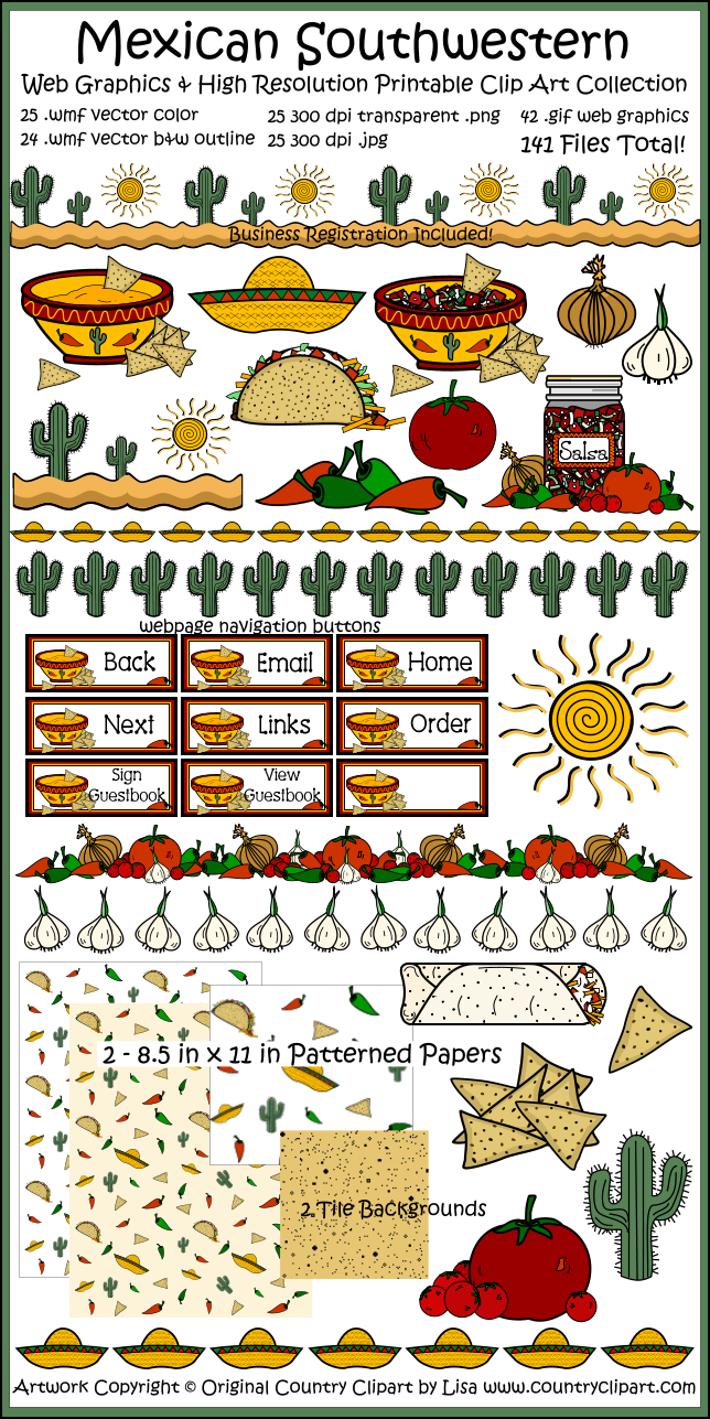 Mexican Southwestern Clip Art Collection