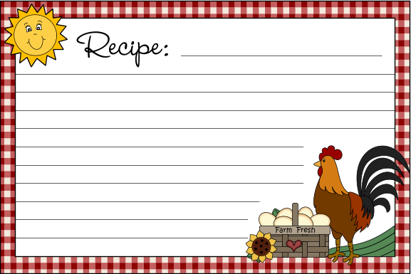 Free Printable Recipe Cards|Country Clipart by Lisa