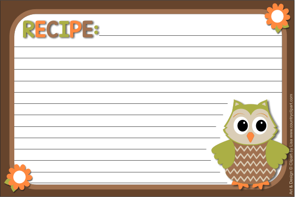 Owl 4x6 Recipe Card