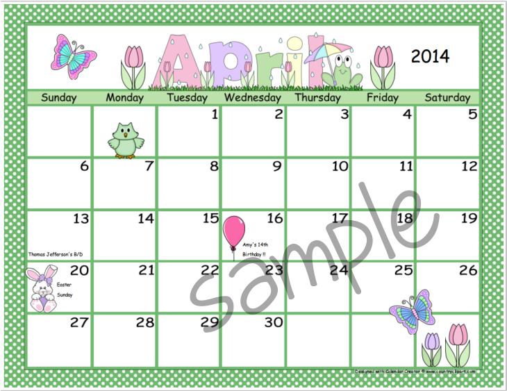 Calendar creator make and print your own calendars for Create my own calendar template