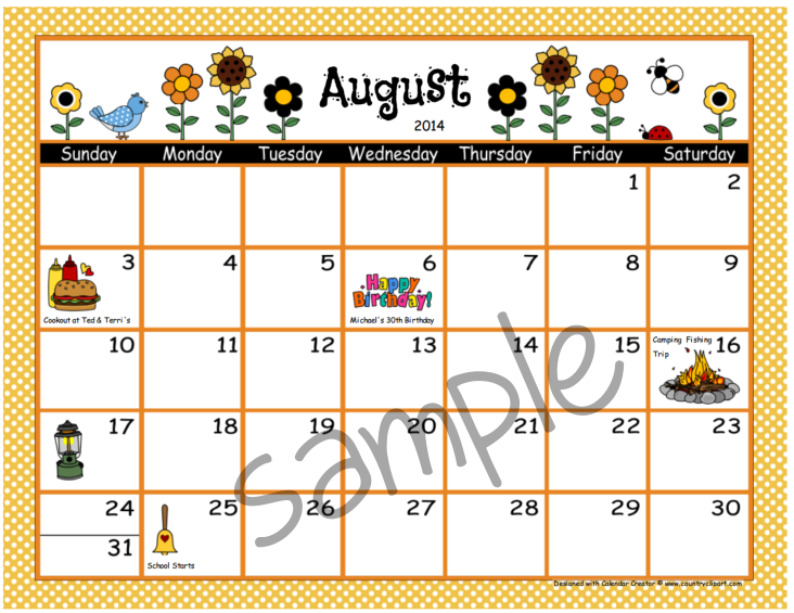 Calendar Creator Make And Print Your Own Calendars