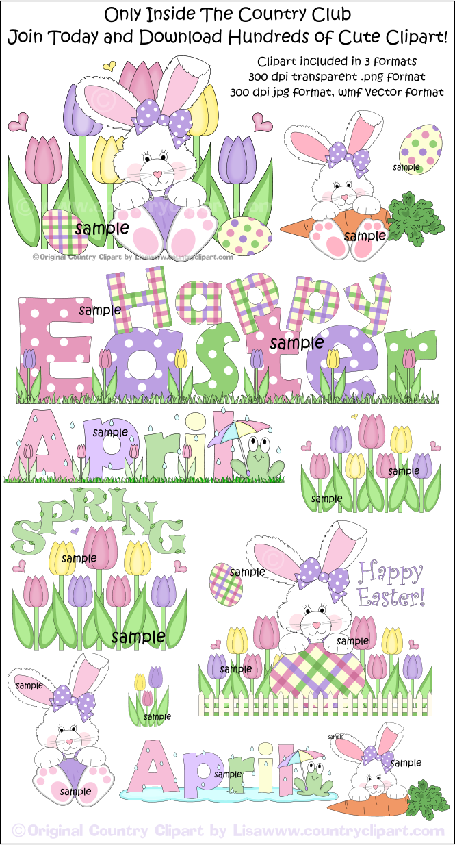 Easter Spring April Clipart Samples