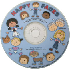 blue labeled cd with cute stick figures and happy faces people and pets clipart on it