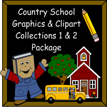 Image of smiling book, pencil, school house and bus that reads country school graphics & clipart collections 1 & 2 package