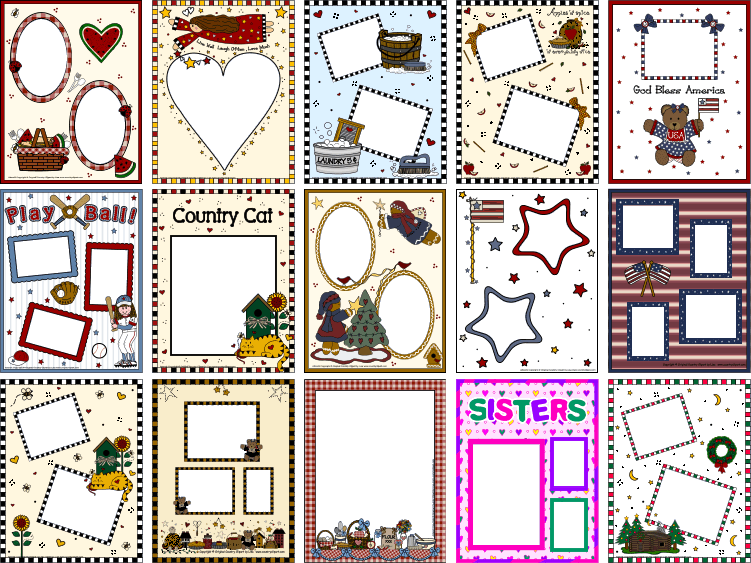 a4b1e6112f2 Scrapbooking Clipart Photo Frame Pages Add Your Photos and Print