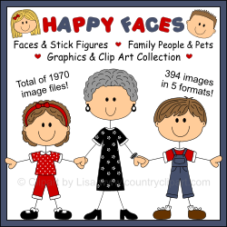Product image Happy Faces Stick Figures Family People Pets